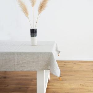 Tischdecke Tischtuch Leinen Grau hellgrau individuell