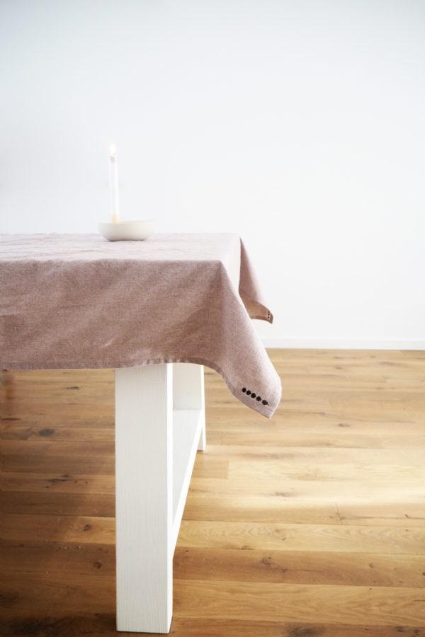 Tischdecke Tischtuch altrosa rosa leinen nachhaltig handmade handgemacht